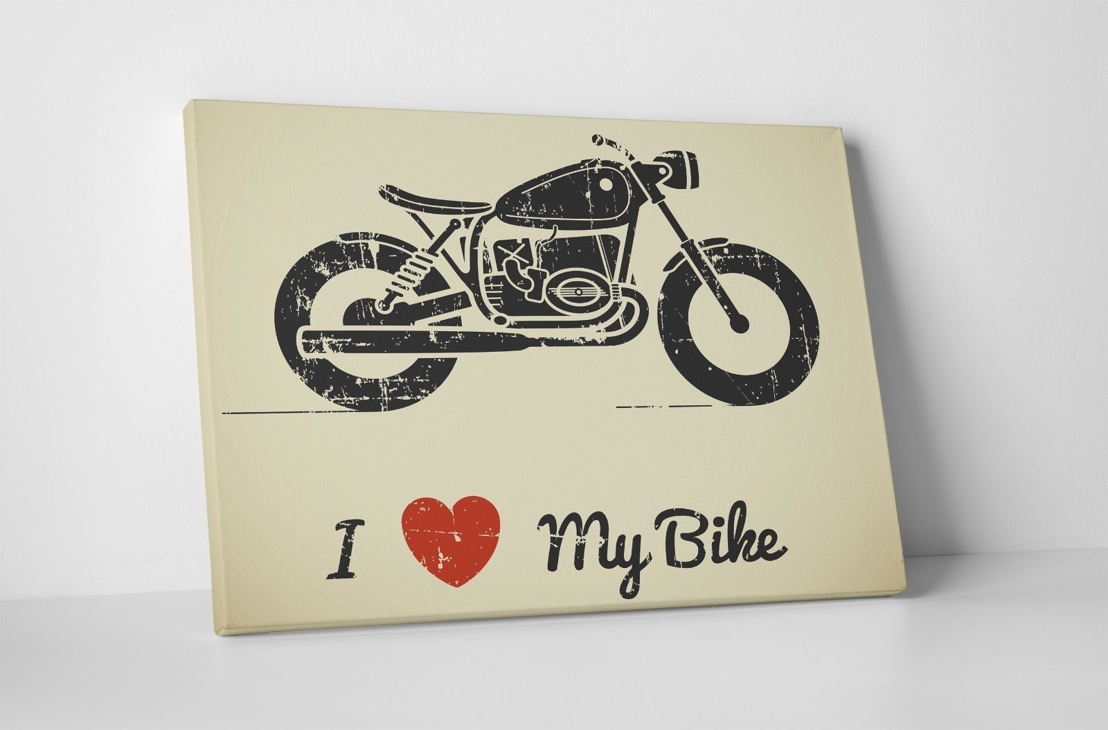 "Primary image for I Love My Bike Motorcycle Art Gallery Wrapped Canvas Print. 30""x20 or 20""x16"""