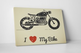 """I Love My Bike Motorcycle Art Gallery Wrapped Canvas Print. 30""""x20 or 20""""x16"""" - $42.52+"""