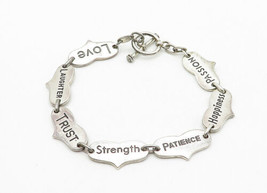 925 Sterling Silver - Vintage Etched Inspirational Words Chain Bracelet - B6324 image 2