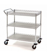 NSF Commercial Grade Industrial Utility Cart Dolly 3 Steel Wire Storage ... - $127.71