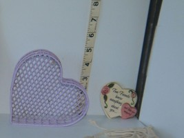 Lot of 2 Heart Themed Decoration Lavender Metal Trinket Box & Friends Ma... - $11.88