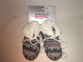 Aerosoles NEW womens slippers small size 5-6 boots booties knit gray grey - £9.24 GBP