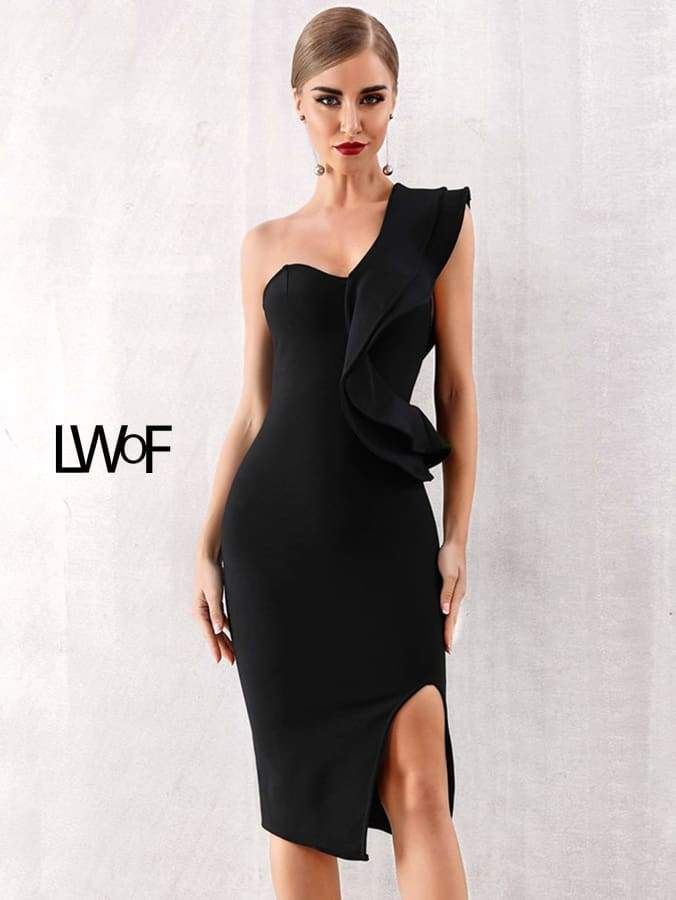 Primary image for Adyce One Shoulder Slit Hem Ruffle Trim Pencil Dress