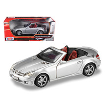 Mercedes Benz SLK 55 AMG with Retractable Roof Silver Blue 1/18 Diecast ... - $48.74