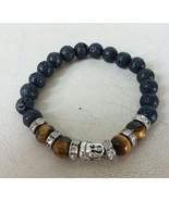 Empowering Jewelry Bracelet Stretchy Black Lava Rock Buddha's Face Tiger... - $2.50