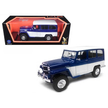 1955 Willys Jeep Station Wagon Blue 1/18 Diecast Model Car by Road Signa... - $84.13