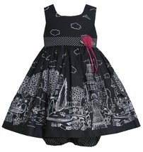 Bonnie Jean Baby Girl 3M-24M Black White Castle Garden Border Print Dress