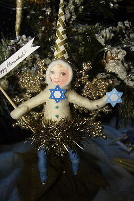 Vintage Inspired Spun Cotton, Hanukkah Girl - Snowflake #136