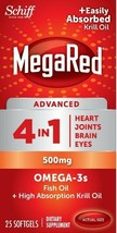 4 X Schiff MegaRed Advanced 4 In 1 Omega-3 Krill Oil 500mg 25ct Each  Ex... - $21.99
