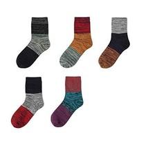 [Color Block] 5 Pairs Retro Men's Socks Calf Socks Cotton Warm Socks Crew Socks