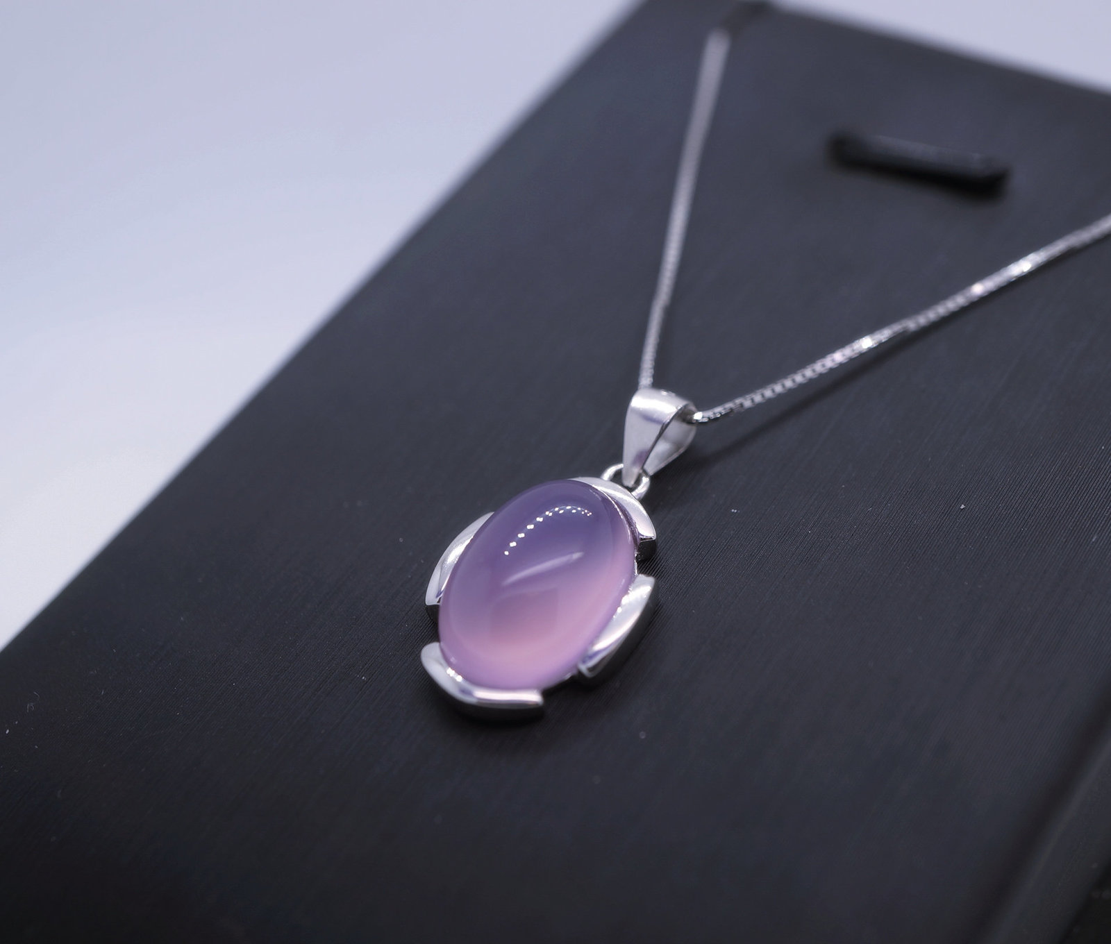 Primary image for Full Sterling Silver Rose Chalcedony Necklace, High Quality Dainty Pink Chalcedo