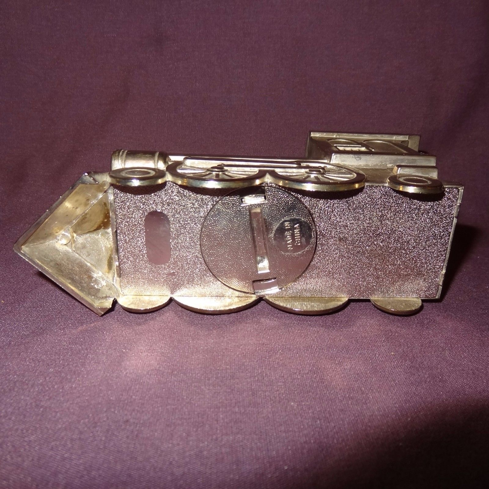 "Vintage Train Piggy Penny Bank Metal Color Silver Locomotive Steam Engine 3"""