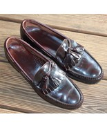 L.L Bean Size 10 M Maroon Leather Fringe Tassel Loafers Men's Made in USA - $23.74