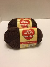 Red Heart Smoothie Brown Yarn lot of 2  3.2 Oz each 218 Yds Each - $9.49