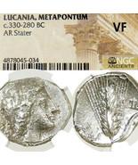 Metapontion NGC Certified VF DEMETER Grain,Plow Ancient Greek Silver Sta... - $260.10