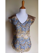 DAYTRIP THE BUCKLE ~ SMALL YELLOW GRAY FLORAL SHEER BLOUSE TOP - $12.00