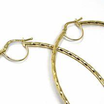 18K YELLOW GOLD BIG CIRCLE HOOPS DIAMETER 65mm EARRINGS TUBE 2mm BRAIDED STRIPED image 3