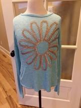 Mudd Top Girls Long Sleeve Blue Shirt High Low Hem Size 14 - £6.13 GBP