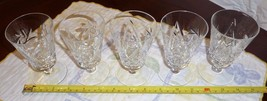 Pinwheel Sherry Wine Glasses 5 Five Carved Crystal Quality Crystal Glasses - $16.51