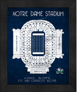 "Notre Dame Fighting irish ""Retro"" Stadium Seating Chart 13x16 Framed Print  - $39.95"
