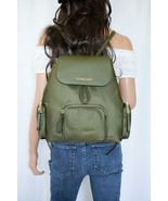 NWT MICHAEL KORS ABBEY LARGE CARGO BACKPACK NYLON LEATHER GREEN DUFFLE - $77.71