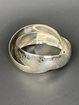 Brighton JB1030 Pair Of Connected Avenue Etched Wide Bangle Silver Tone ... - $35.00