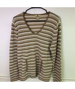 Woolrich Womens Knit Top Beige Olive White Striped Long Sleeves V Neck P... - £19.67 GBP