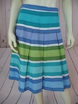 Talbots Petites Skirt 2 NEW Blue Green Periwinkle Turquoise White Cotton... - $48.51