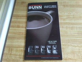 Bunn velocity brew manual for NHB, GR, BX, BT and ST. - $12.30