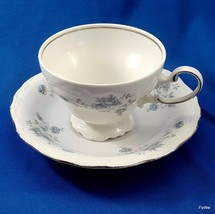 Johann Haviland Blue Garland Footed Cup and Saucer Set White Blue Platin... - $9.90