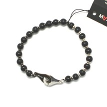 Silver 925 Bracelet with Onyx round BSP-4 Made in Italy by Maschia image 1