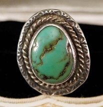 Vintage Handmade Silver and Green Turquoise Ring Size 8 - €50,29 EUR