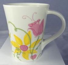 "STARBUCKS 13 oz Spring Flowers Coffee Mug Pink Yellow Green Floral 4.5"" 2006 - $8.27"