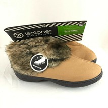Isotoner Womens Bootie Slippers ResponsIV Faux Fur Faux Suede Brown S 6.5-7 - $24.18