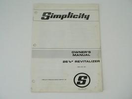 "Simplicity 26 1/2"" Revitalizer No 931 Operators/Owners Manual - $25.00"