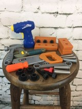 Plastic Toy Tool Lot Power Drill Saw Boards Screws Bolts - $11.88