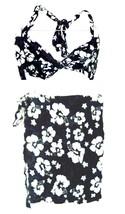 Sz M/L - Dark Blue & White Hibiscus Print Halter Fabric Bikini Top & Wra... - $37.99