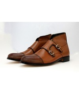Handmade Genuine Leather Monk Tan Color Cap Toe Double Strap Ankle Boot ... - $149.99+