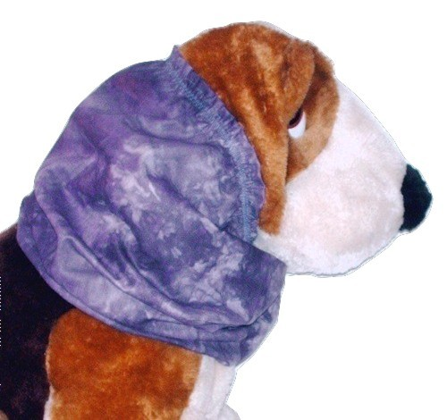 Dog Snood-Purple Batik Cotton-Spaniel-Afghan-Puppy REGULAR