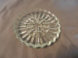 Vintage Glass Divided Relish Bowl scalloped edges, Diamond Center (M) - $37.13