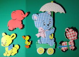 5 Vtg Dolly Toy Co Wall Hanging Plaque Set Animals Wagon Teddy Bear Pupp... - $18.80