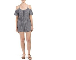 One Clothing Cold Shoulder Romper Jumpsuit Siz Large Navy Ivory Striped ... - $14.85