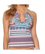 NEW Jessica Simpson Verailles High Neck Key Hole Tankini Swim Top S Small - $29.69