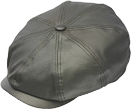 Henschel Genuine Leather Newsboy Cap Plaid Cotton Lining Closed Back Brown Black - $59.00