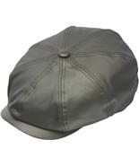 Henschel Genuine Leather Newsboy Cap Plaid Cotton Lining Closed Back Bro... - $59.00
