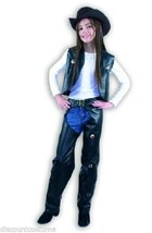 COWGIRL GIRL'S BROWN CHAPS AND VEST HALLOWEEN COSTUME CHILD SIZE XSMALL 4-6 - $36.04