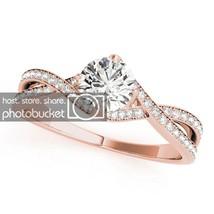 1.24 Cttw White Sim Diamond 10k Rose Gold 925 Silver Engagement Wedding ... - $50.32