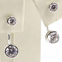 18K WHITE GOLD PENDANT SOLITAIRE EARRINGS ALTERNATE DOUBLE ZIRCONIA, ITALY MADE image 1