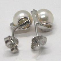 EARRINGS ORSINI WHITE GOLD 750 18K, WHITE PEARLS AKOYA AND DIAMONDS image 7