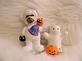 Halloween Home Decor Enesco Bear Ghost Teddy Bear Mummy Pumpkin Trick or... - $21.33